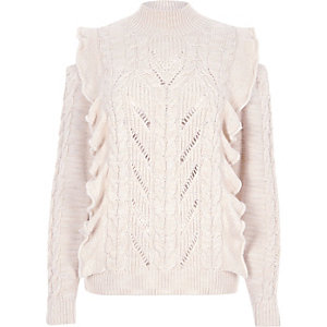 Cream frill high neck cable knit jumper