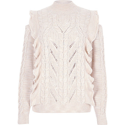 Cream frill high neck cable knit sweater