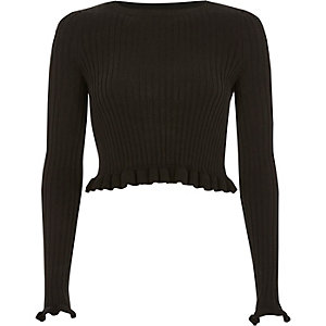 Black ribbed knit frill long sleeve crop top