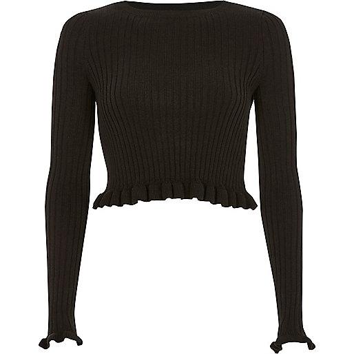 Black ribbed knit frill long sleeve crop top