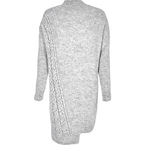 Grey cable knit asymmetric sweater dress