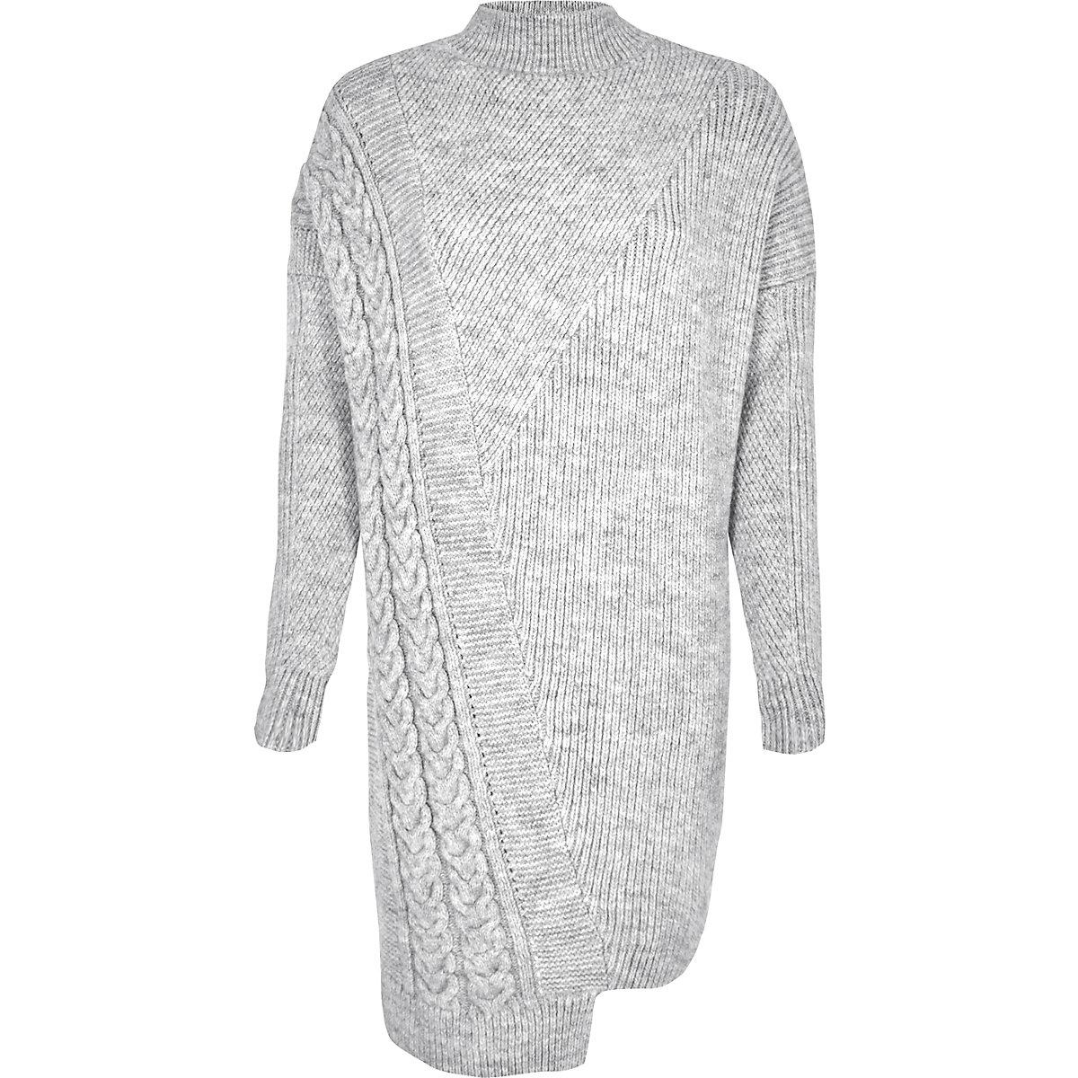 8b88e99761b98e Grijze asymmetrische gebreide trui-jurk met kabels - Jurken - Sale ...