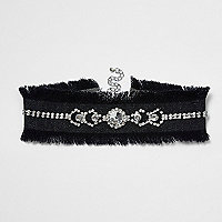 Black frayed edge embellished denim choker