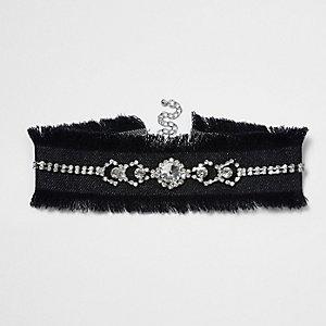 Black frayed edge embellished denim choker
