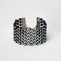 Bracelet noir à maillage strass