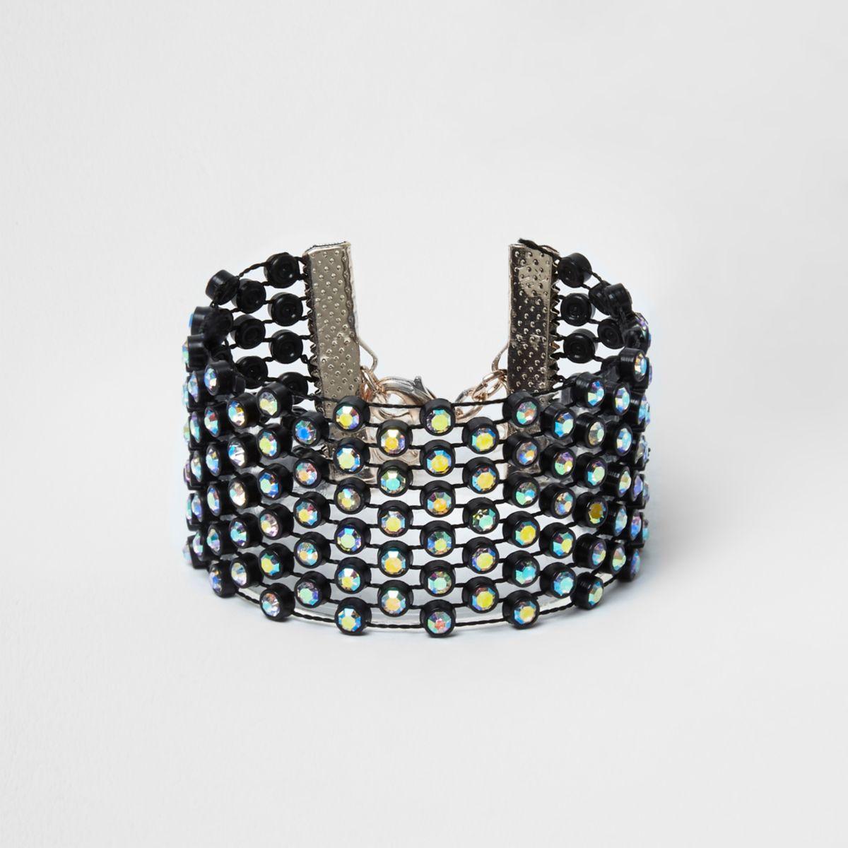 Zwarte omwonden armband met diamantjes