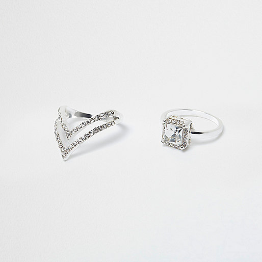 Silver tone diamante jewel ring multipack