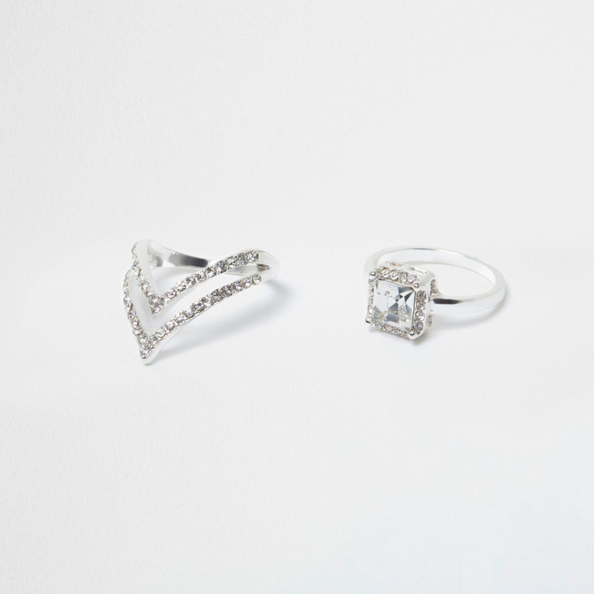 Silver tone rhinestone jewel ring multipack