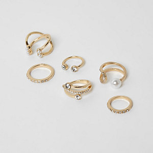 Gold tone diamante and peal ring pack
