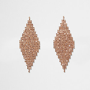 Orange rhinestone pave diamond earrings