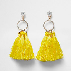 Cubic zirconia yellow tassel drop earrings
