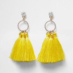 Yellow tassel drop earrings