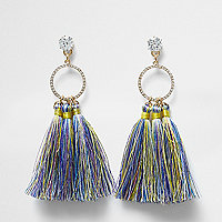 Blue multi colour tassel drop earrings