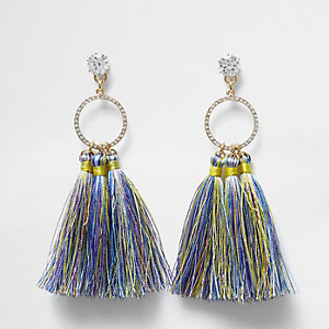 Cubic zirconia blue tassel drop earrings