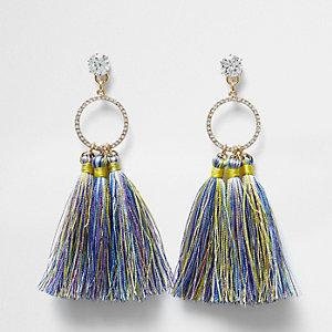 Blue multi colour tassel drop earrings