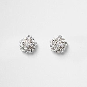 Clous d'oreilles en perles argentés avec strass