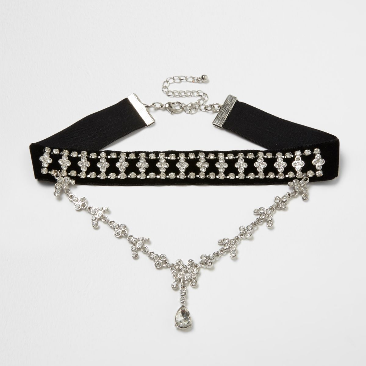 Black velvet jewel drape choker