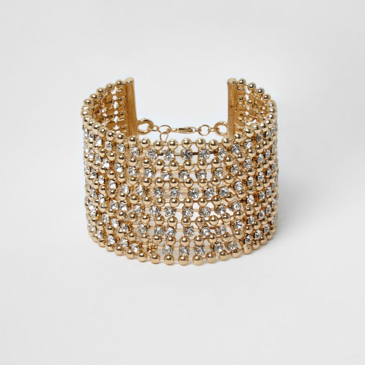 Gold tone bead and rhinestone cuff bracelet
