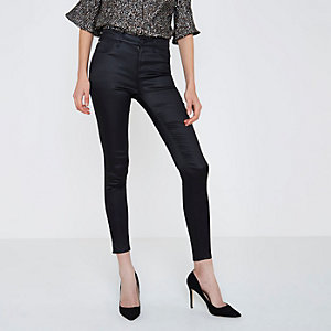 Amelie - Zwarte superskinny jeans met coating