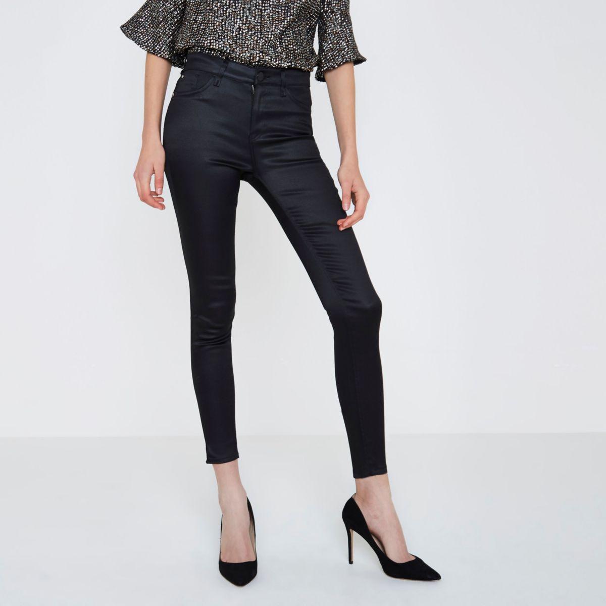 Amelie - Zwarte superskinny jeans met coating