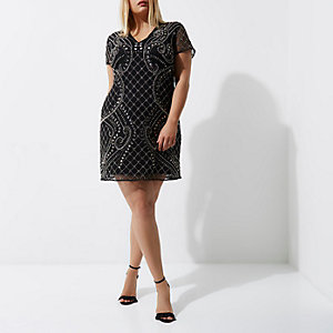 Plus black embellished shift dress