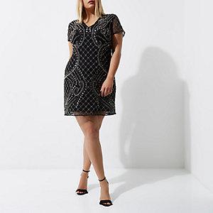 RI Plus - Zwarte fluwelen verfraaide jurk