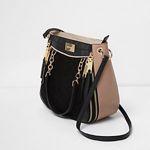 Black chain zip scoop cross body tote bag