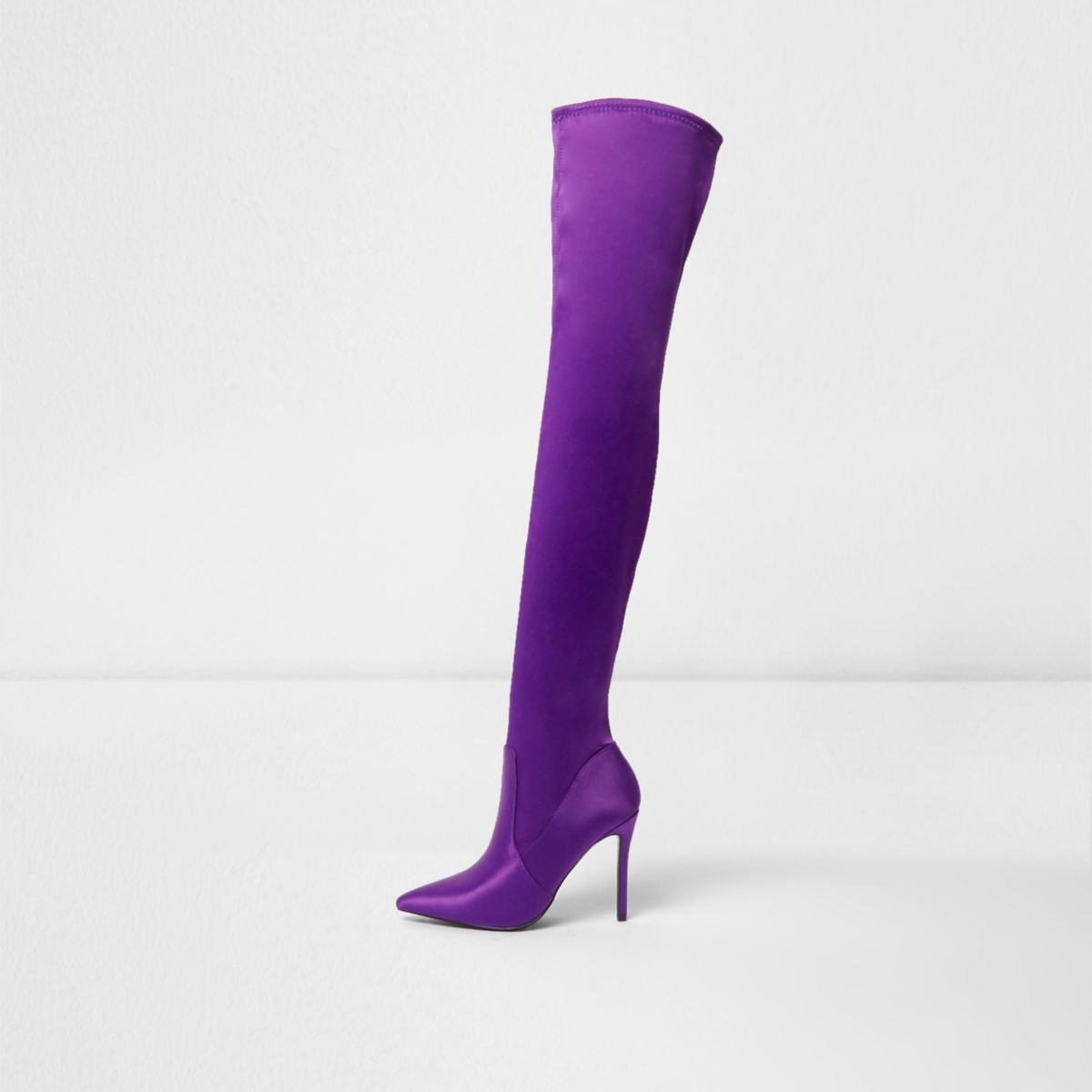 Purple satin over the knee boots