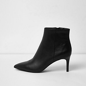 Black leather pointed kitten heel ankle boots