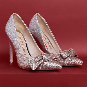 Gold wide fit ombre glitter bow court shoes