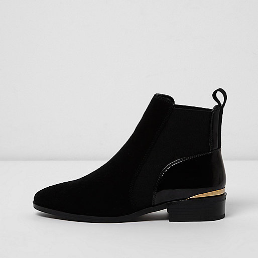 Black wide fit mixed texture chelsea boots