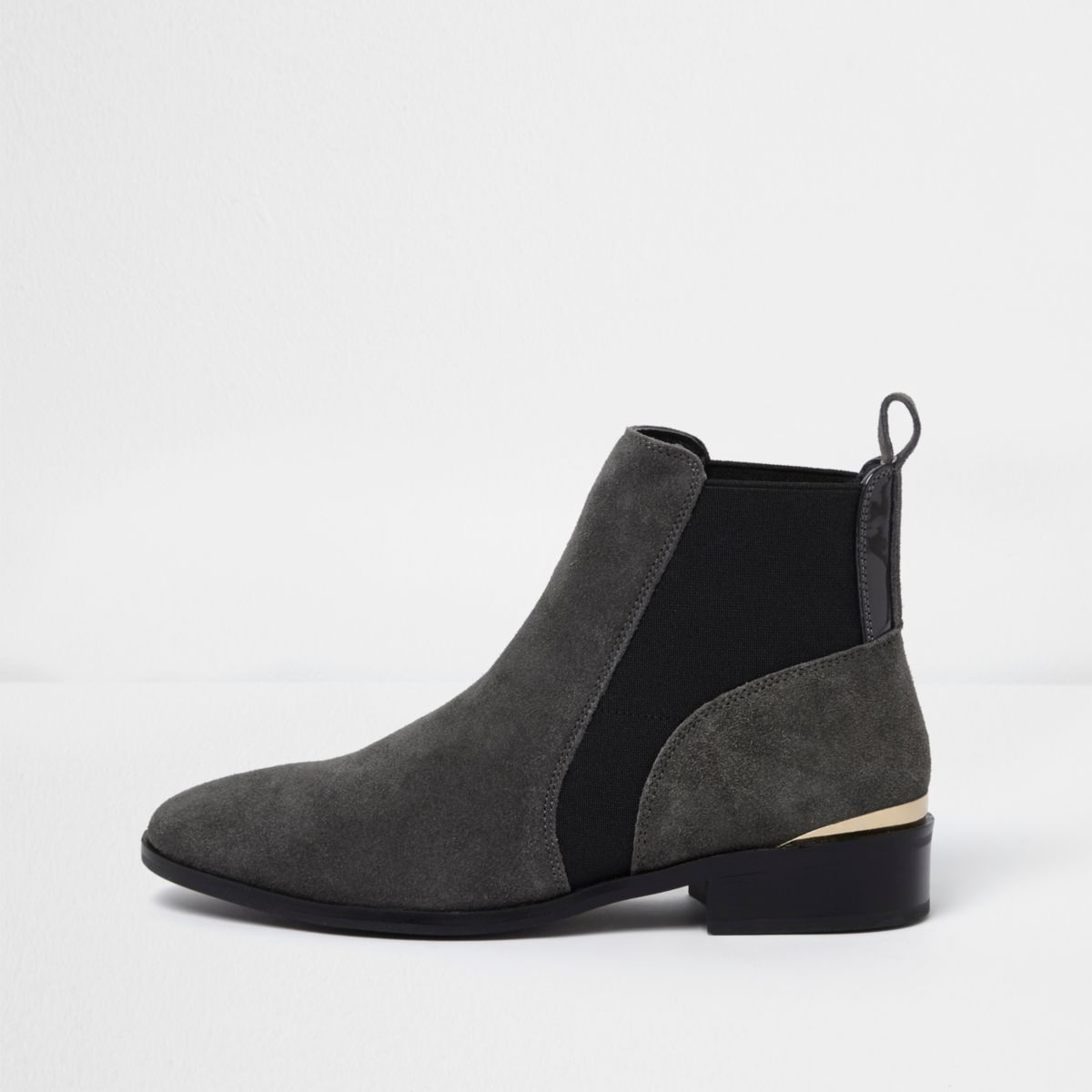 Grey wide fit suede gold trim chelsea boots