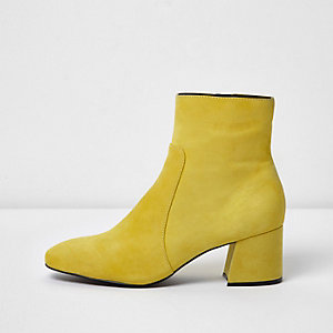 Yellow suede block heel ankle boots