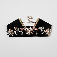 Black velvet flower embellished choker