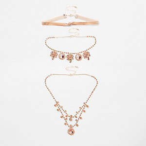 Rose gold tone jewel embellished necklace set