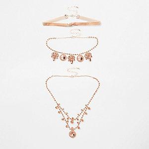 Rose gold tone jewel embellished necklace set