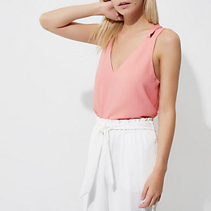 Petite pink double strap cross back tank