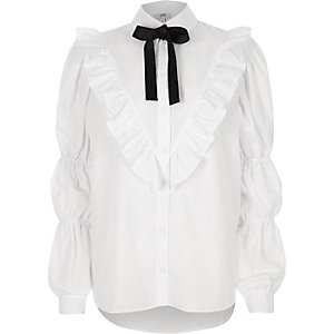 White frill front pussy bow collar shirt