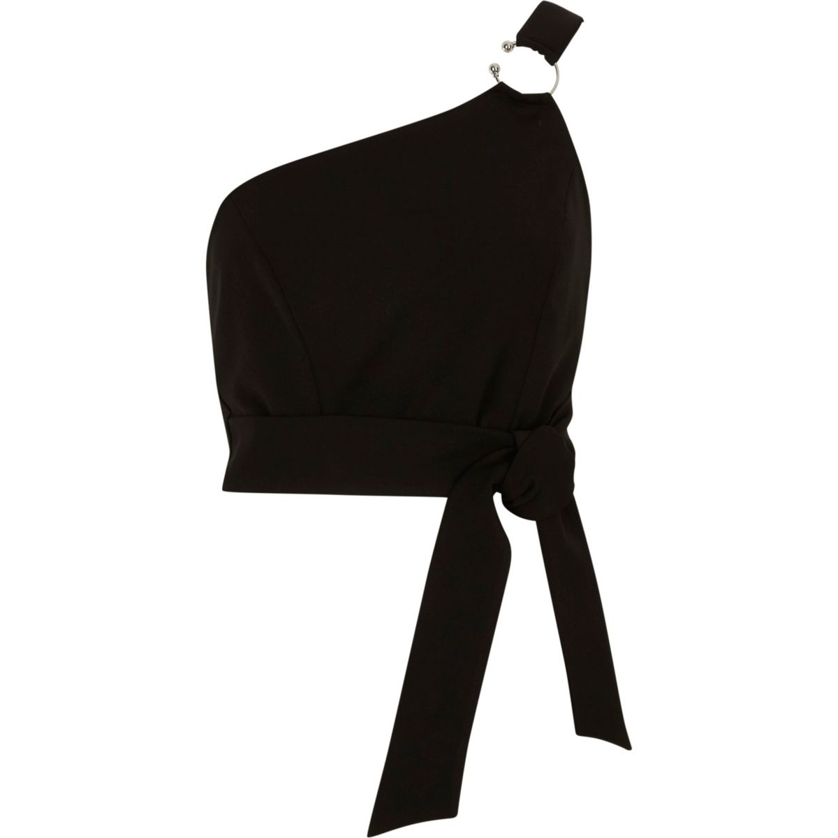 Black ring one shoulder bralet