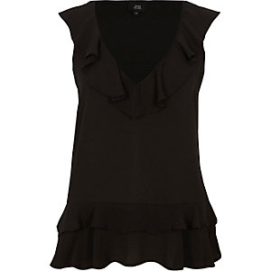 Black frill front V neck sleeveless top
