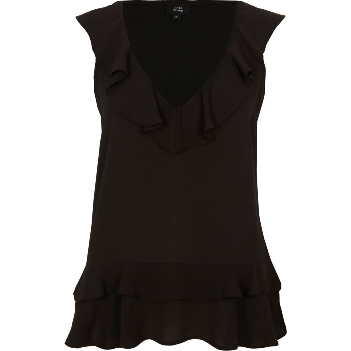 Black frill front V neck sleeveless top