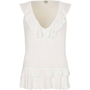 White frill front V neck sleeveless top