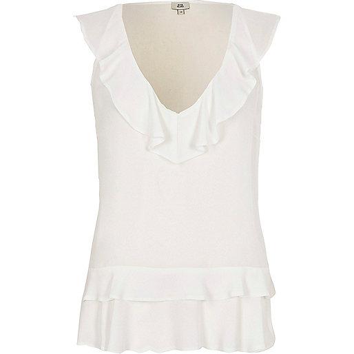 White frill front V neck sleeveless top