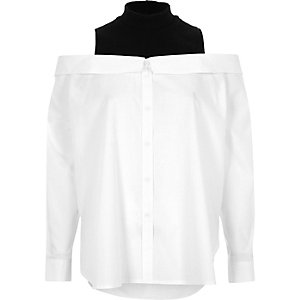 White turtle neck layered bardot shirt
