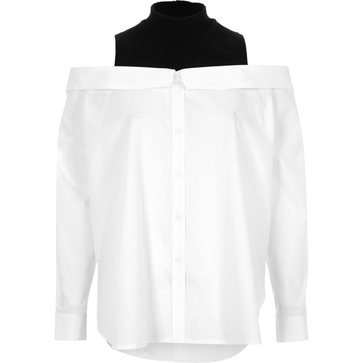 White turtle neck layered bardot shirt