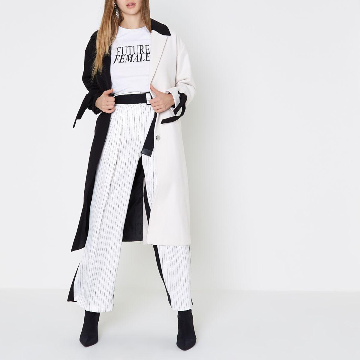 White and black colour block tie cuff coat