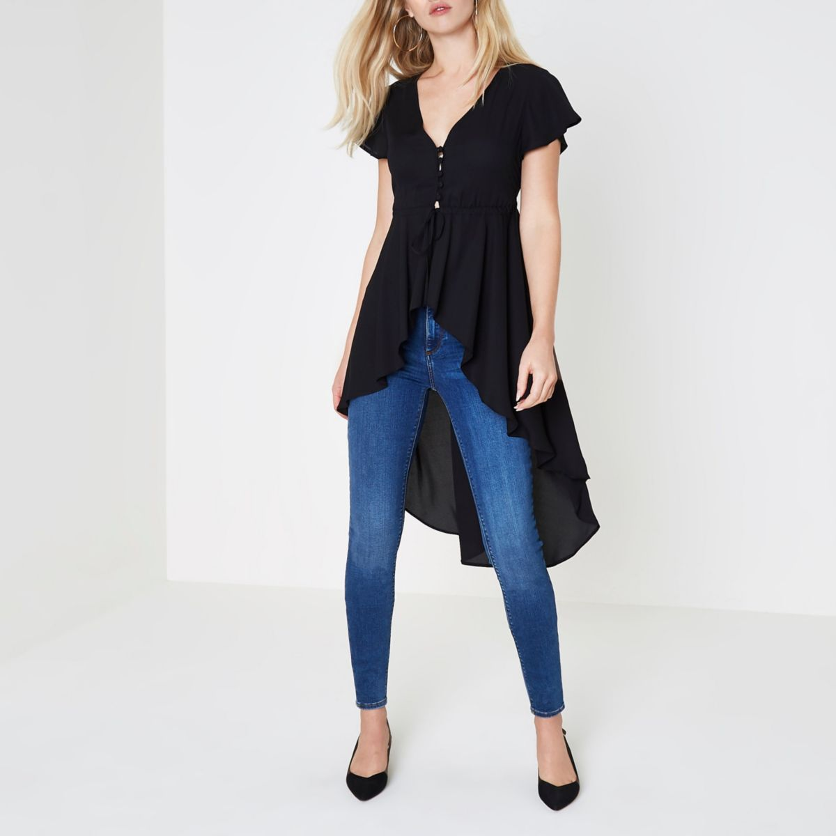 Black short sleeve high-low ruffle hem kimono
