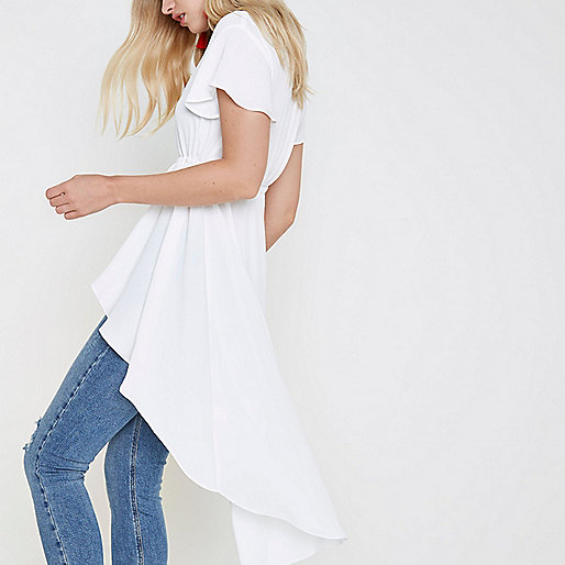 White short sleeve high-low ruffle hem kimono