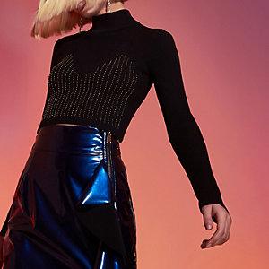 RI Studio – Crop top en maille noir à perles