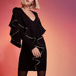Black embellished frill bodycon mini dress